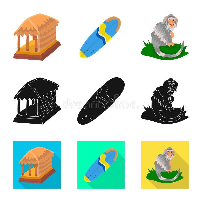 Ge?soleerd voorwerp van en reisembleem Inzameling van en traditionele voorraad vectorillustratie vector illustratie