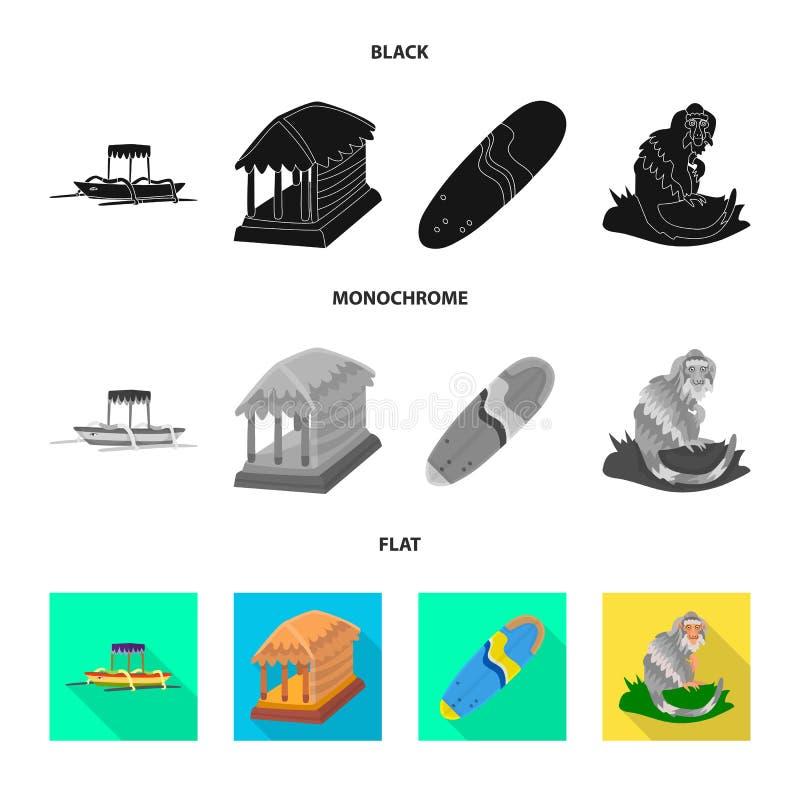Ge?soleerd voorwerp van en reisembleem Inzameling van en traditionele voorraad vectorillustratie stock illustratie