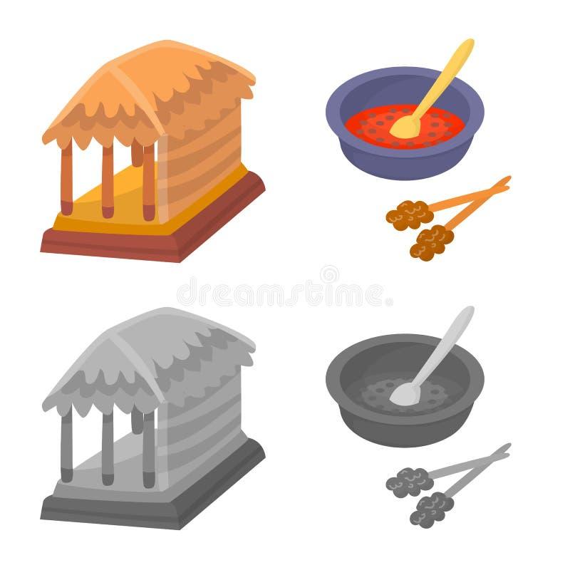 Ge?soleerd voorwerp van en reissymbool Inzameling van en traditionele voorraad vectorillustratie stock illustratie