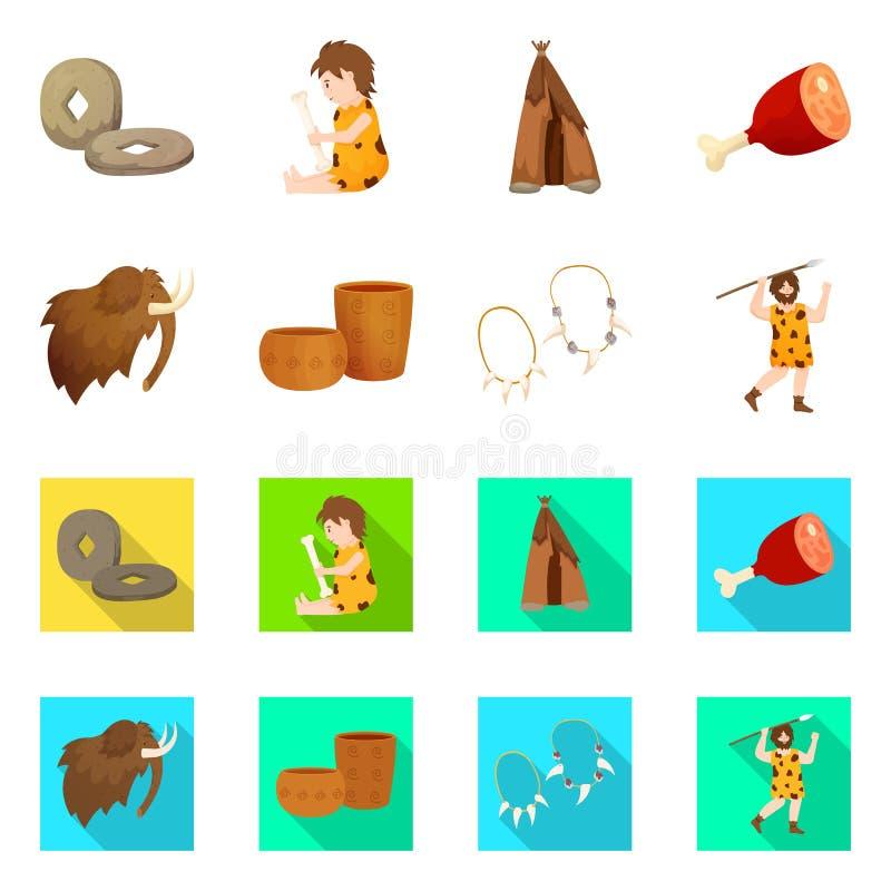 Ge?soleerd voorwerp van evolutie en neolithisch embleem Reeks van evolutie en ongerept voorraadsymbool voor Web stock illustratie