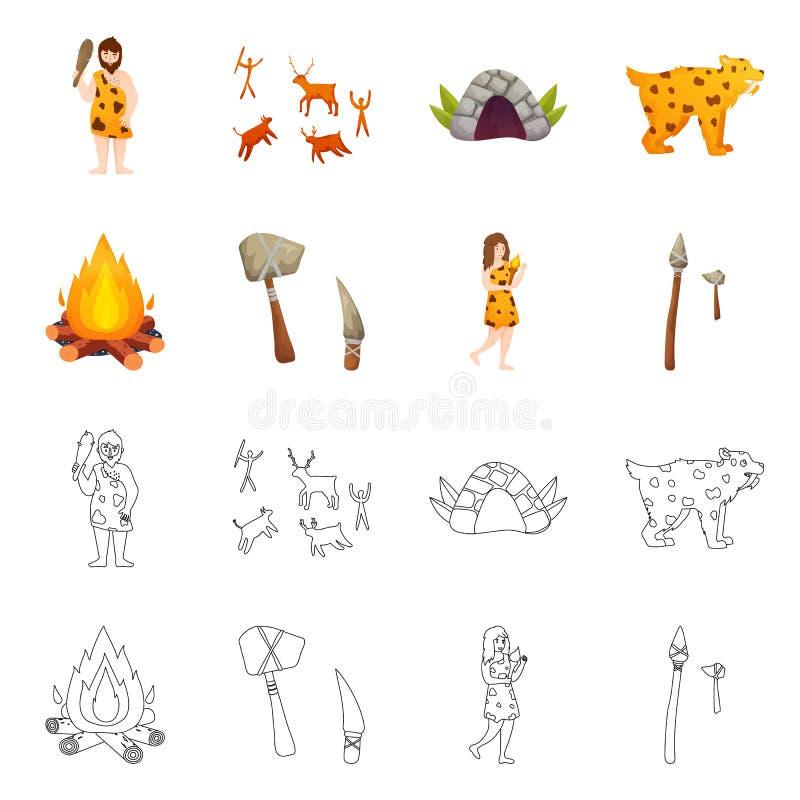 Ge?soleerd voorwerp van evolutie en neolithisch pictogram Reeks van evolutie en ongerept vectorpictogram voor voorraad royalty-vrije illustratie