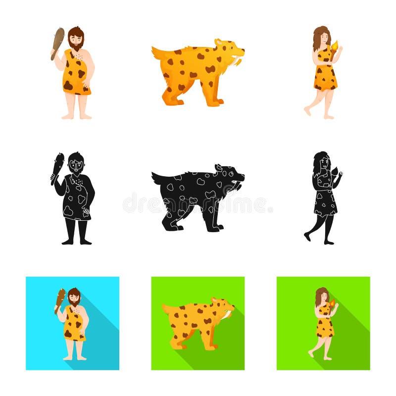 Ge?soleerd voorwerp van evolutie en neolithisch symbool Inzameling van evolutie en ongerept vectorpictogram voor voorraad royalty-vrije illustratie