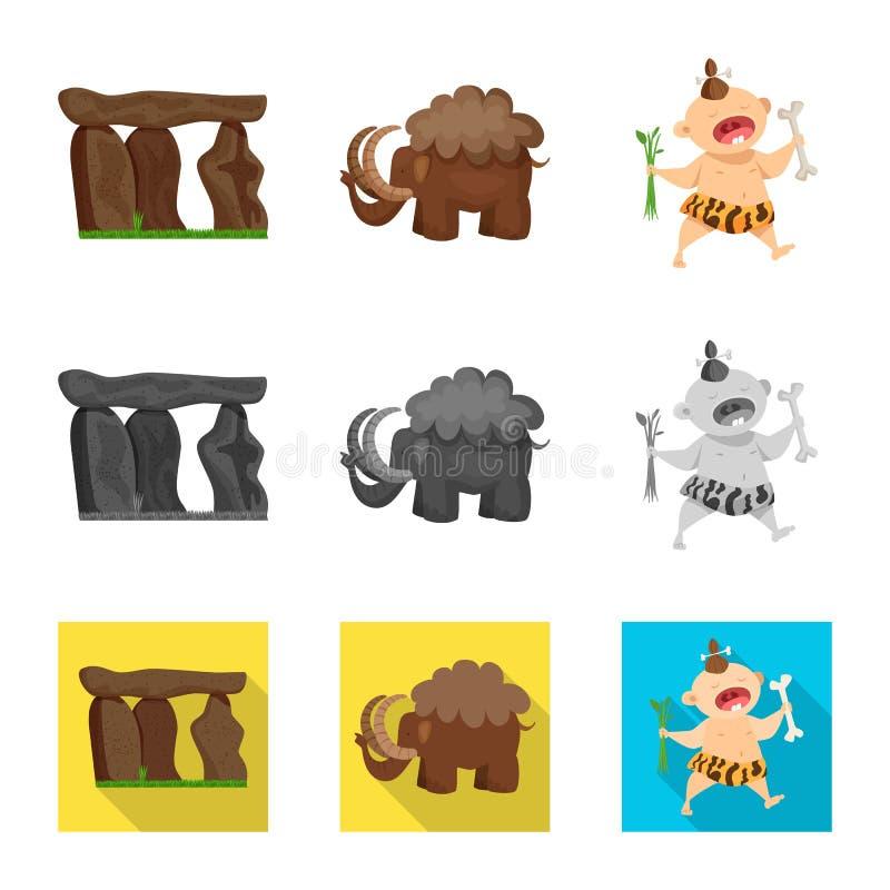 Ge?soleerd voorwerp van evolutie en voorgeschiedenispictogram Inzameling van evolutie en de vectorillustratie van de ontwikkeling stock illustratie