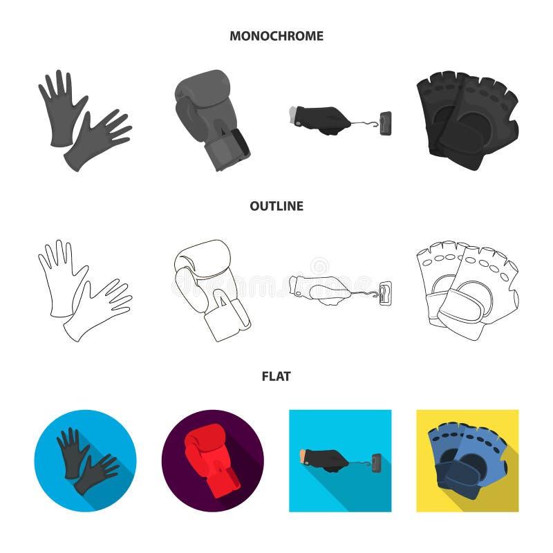 Ge?soleerd voorwerp van gebreid en bewaardersembleem Inzameling van de gebreide en vectorillustratie van de handvoorraad stock illustratie