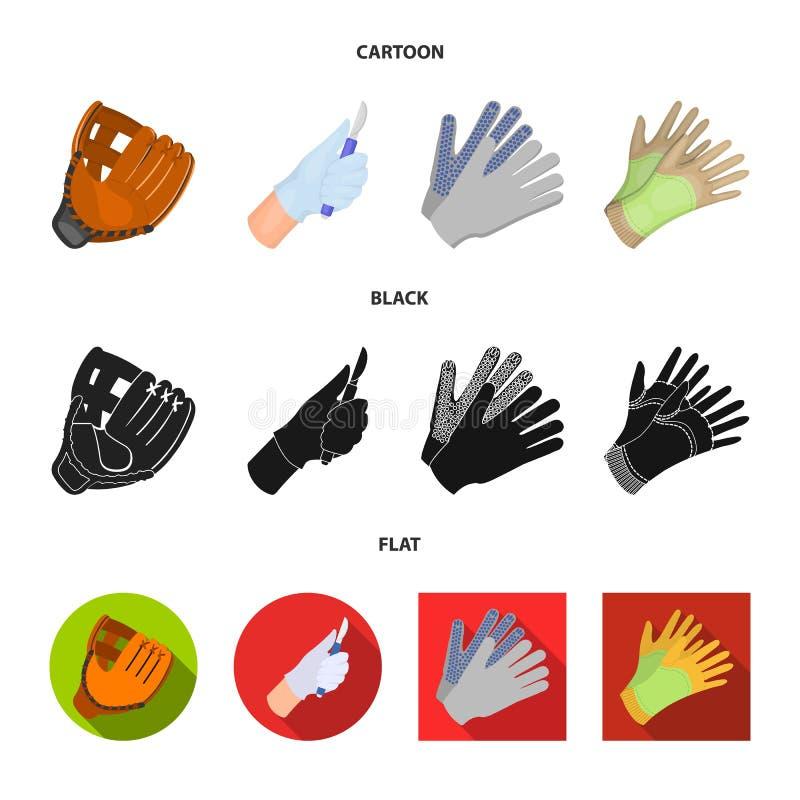 Ge?soleerd voorwerp van gebreid en bewaardersembleem Reeks van het gebreide en symbool van de handvoorraad voor Web stock illustratie