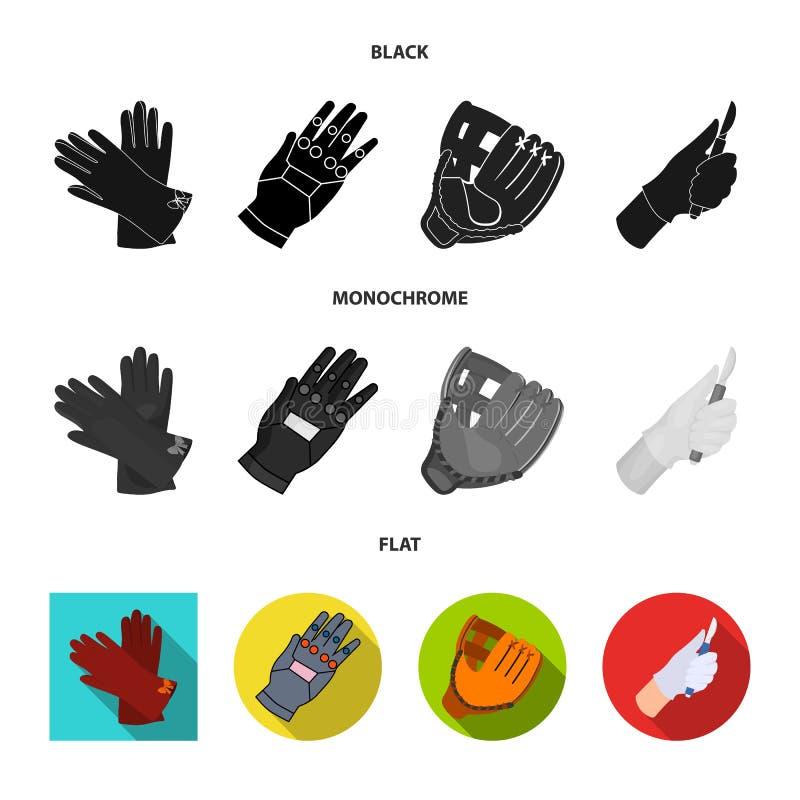 Ge?soleerd voorwerp van gebreid en bewaardersteken Reeks van de gebreide en vectorillustratie van de handvoorraad stock illustratie