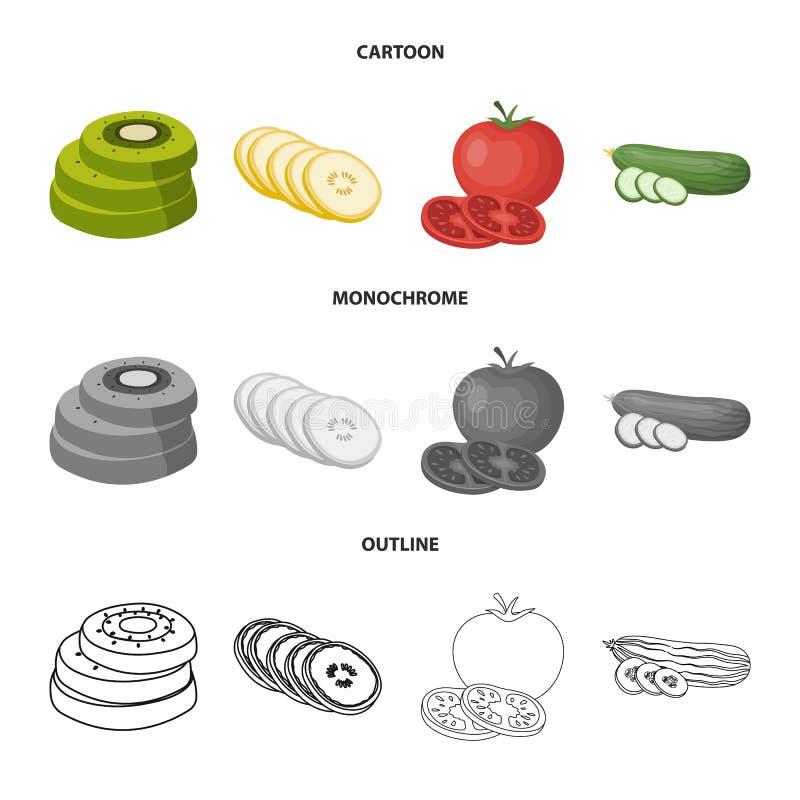 Ge?soleerd voorwerp van groente en fruitembleem Reeks van groente en voedselvoorraadsymbool voor Web stock illustratie