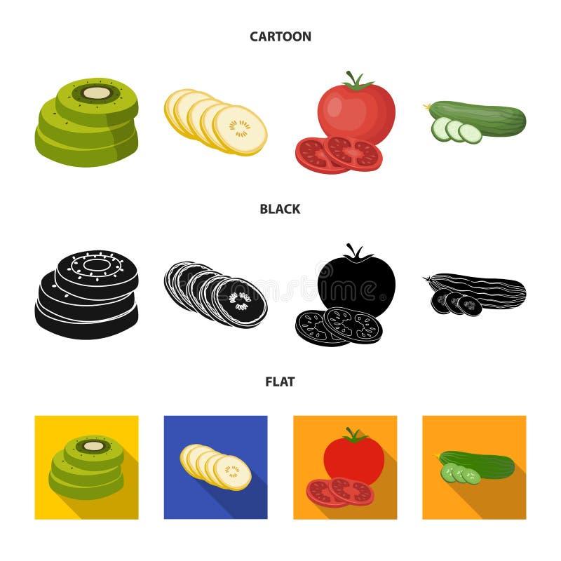 Ge?soleerd voorwerp van groente en fruitpictogram Inzameling van groente en voedselvoorraad vectorillustratie royalty-vrije illustratie