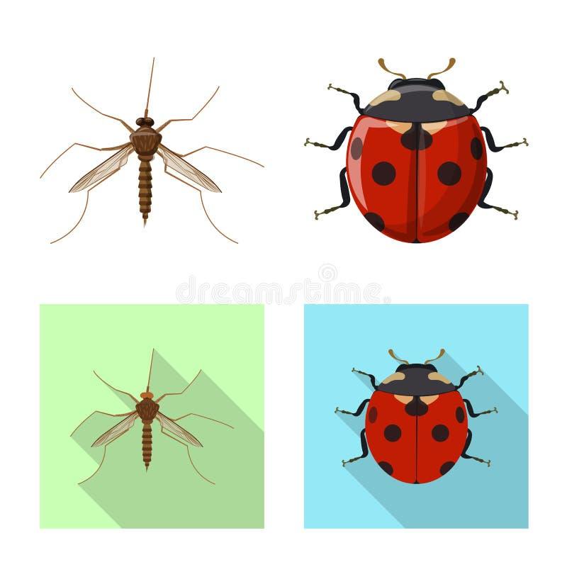 Ge?soleerd voorwerp van insect en vliegembleem Reeks van insect en elementen vectorpictogram voor voorraad stock illustratie