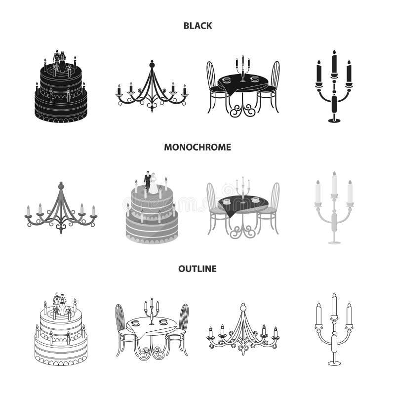 Ge?soleerd voorwerp van kaars en kandelaarpictogram Reeks van kaars en kerk vectorpictogram voor voorraad royalty-vrije illustratie