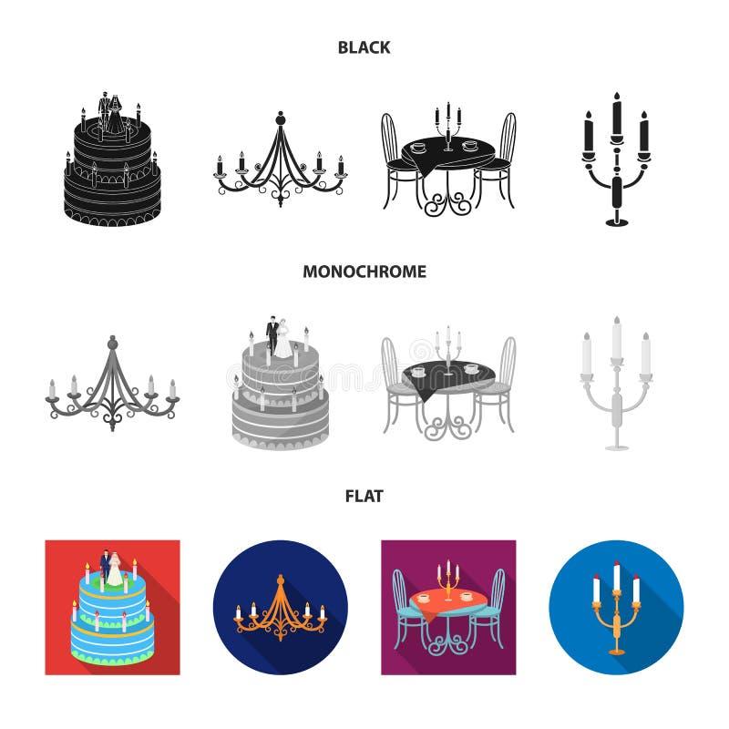 Ge?soleerd voorwerp van kaars en kandelaarteken Inzameling van kaars en kerkvoorraad vectorillustratie royalty-vrije illustratie