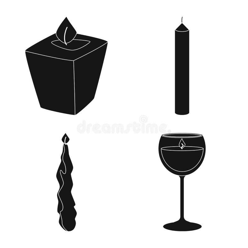 Ge?soleerd voorwerp van kaarslicht en decoratieembleem Inzameling van kaarslicht en de vectorillustratie van de wasvoorraad royalty-vrije illustratie