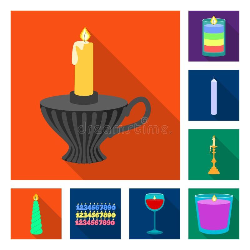 Ge?soleerd voorwerp van kaarslicht en decoratieembleem Inzameling van kaarslicht en het symbool van de vlamvoorraad voor Web vector illustratie