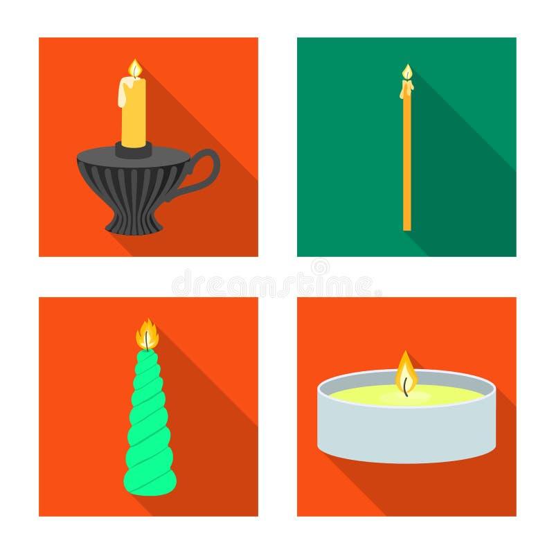 Ge?soleerd voorwerp van kaarslicht en decoratieembleem Inzameling van kaarslicht en het symbool van de vlamvoorraad voor Web royalty-vrije illustratie