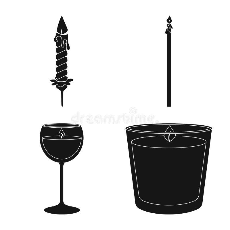 Ge?soleerd voorwerp van kaarslicht en decoratieembleem Reeks van kaarslicht en het symbool van de wasvoorraad voor Web vector illustratie