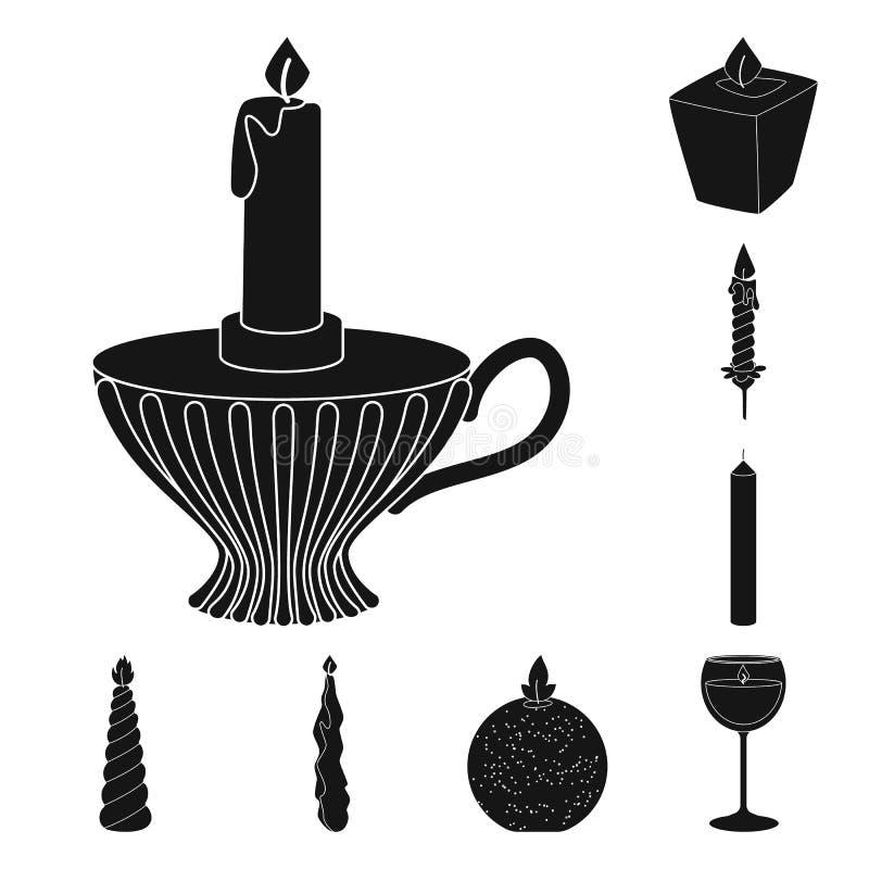 Ge?soleerd voorwerp van kaarslicht en decoratiepictogram Inzameling van kaarslicht en het symbool van de wasvoorraad voor Web royalty-vrije illustratie