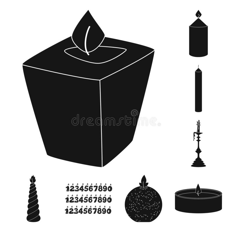 Ge?soleerd voorwerp van kaarslicht en decoratiepictogram Inzameling van kaarslicht en was vectorpictogram voor voorraad stock illustratie