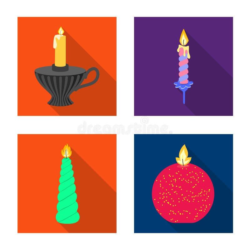 Ge?soleerd voorwerp van kaarslicht en decoratiepictogram Reeks van kaarslicht en het symbool van de vlamvoorraad voor Web vector illustratie