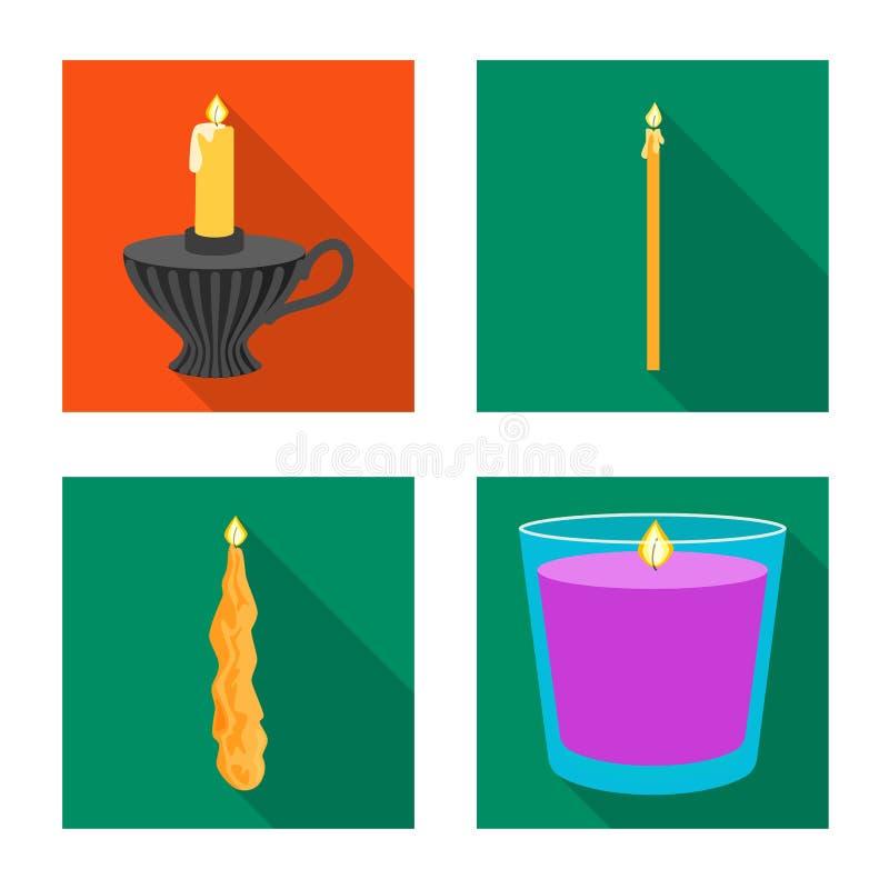 Ge?soleerd voorwerp van kaarslicht en decoratiesymbool Inzameling van kaarslicht en het symbool van de vlamvoorraad voor Web vector illustratie