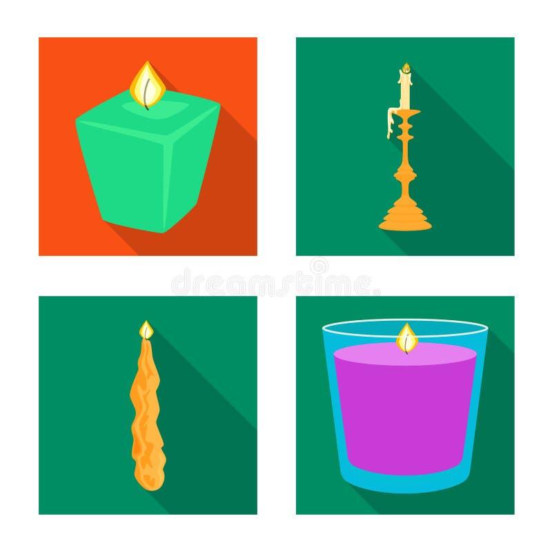Ge?soleerd voorwerp van kaarslicht en decoratiesymbool Inzameling van kaarslicht en het symbool van de vlamvoorraad voor Web stock illustratie