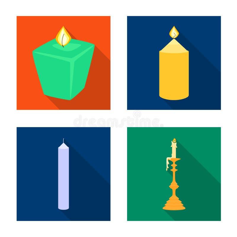 Ge?soleerd voorwerp van kaarslicht en decoratiesymbool Inzameling van kaarslicht en vlam vectorpictogram voor voorraad royalty-vrije illustratie