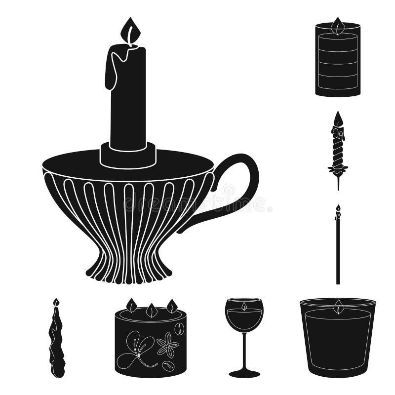 Ge?soleerd voorwerp van kaarslicht en decoratiesymbool Reeks van kaarslicht en de vectorillustratie van de wasvoorraad royalty-vrije illustratie
