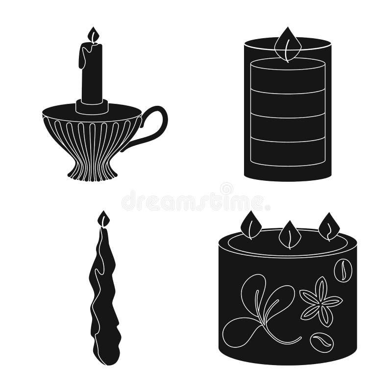 Ge?soleerd voorwerp van kaarslicht en decoratieteken Reeks van kaarslicht en de vectorillustratie van de wasvoorraad stock illustratie