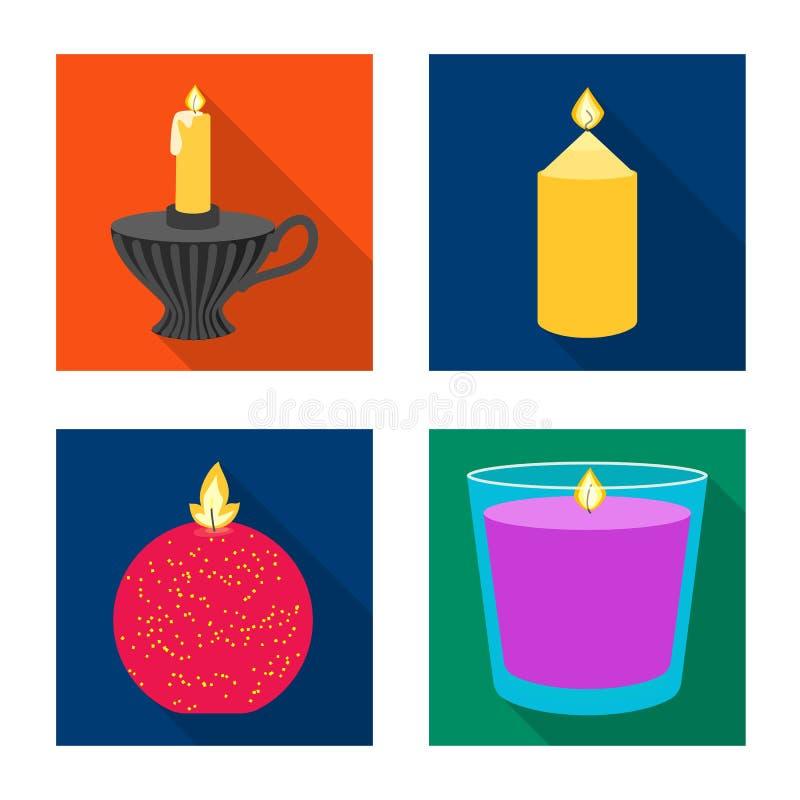 Ge?soleerd voorwerp van kaarslicht en decoratieteken Reeks van kaarslicht en het symbool van de vlamvoorraad voor Web stock illustratie