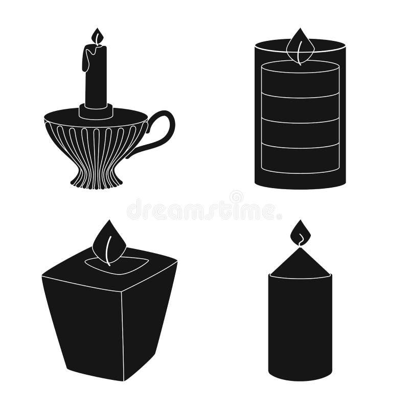 Ge?soleerd voorwerp van kaarslicht en decoratieteken Reeks van kaarslicht en het symbool van de wasvoorraad voor Web royalty-vrije illustratie