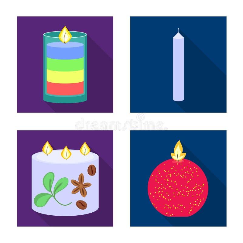 Ge?soleerd voorwerp van kaarslicht en decoratieteken Reeks van kaarslicht en vlam vectorpictogram voor voorraad vector illustratie