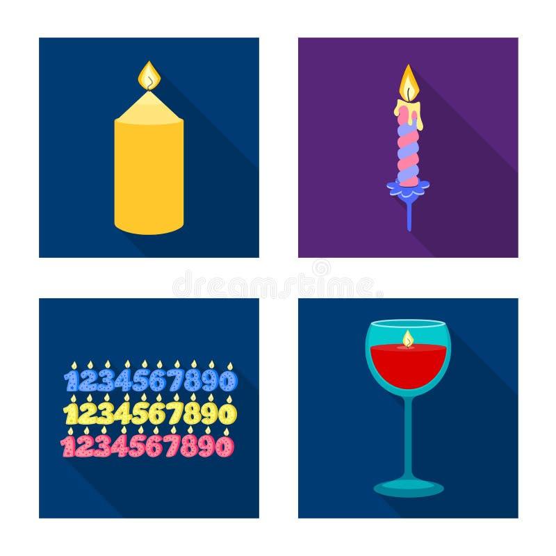 Ge?soleerd voorwerp van kaarslicht en decoratieteken Reeks van kaarslicht en vlam vectorpictogram voor voorraad royalty-vrije illustratie