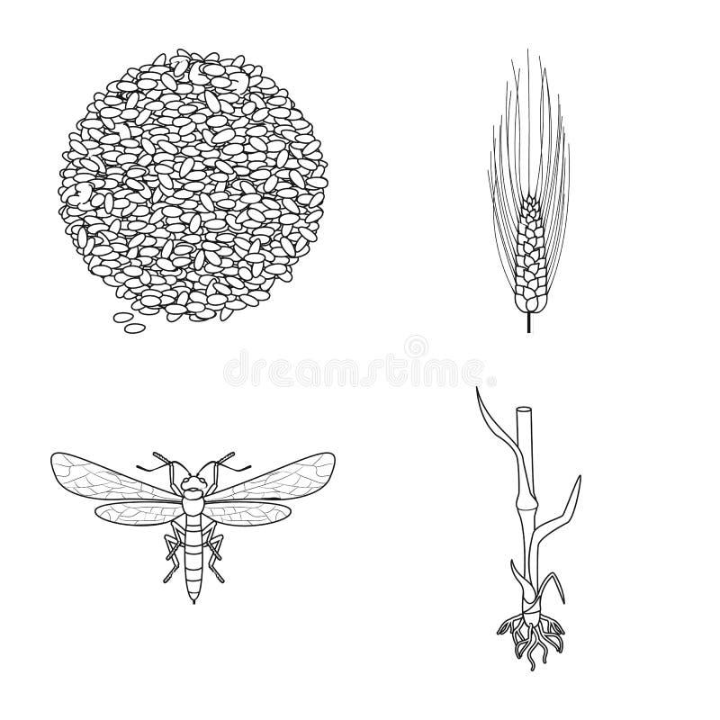 Ge?soleerd voorwerp van landbouw en de landbouwembleem Inzameling van landbouw en de vectorillustratie van de installatievoorraad royalty-vrije illustratie