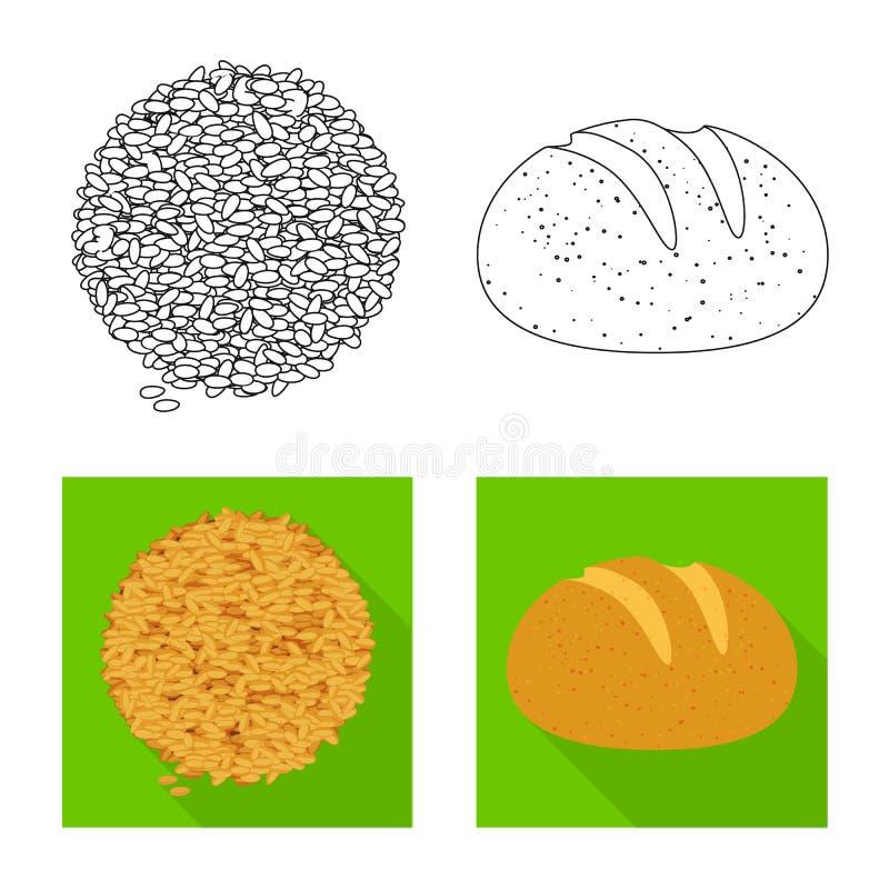 Ge?soleerd voorwerp van landbouw en de landbouwembleem Inzameling van landbouw en de vectorillustratie van de installatievoorraad stock illustratie