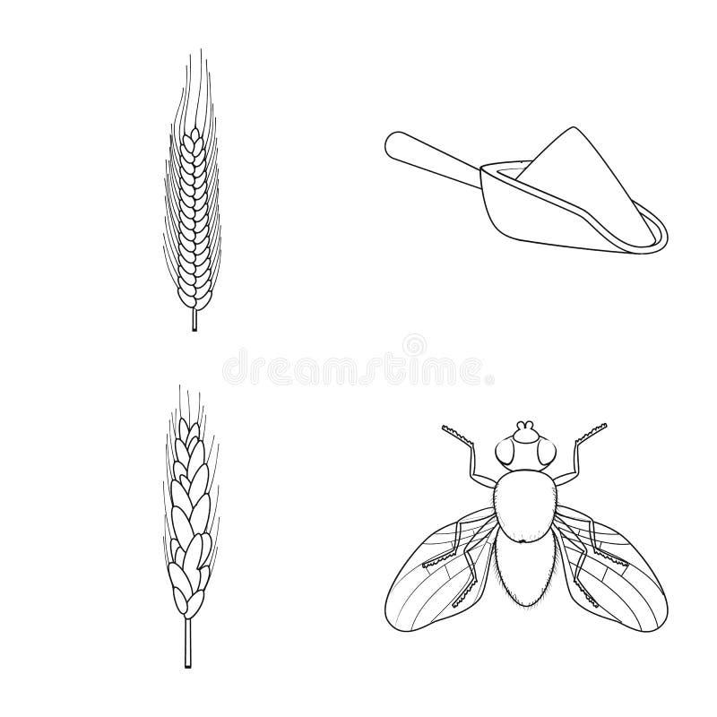 Ge?soleerd voorwerp van landbouw en de landbouwembleem Reeks van landbouw en de vectorillustratie van de installatievoorraad vector illustratie