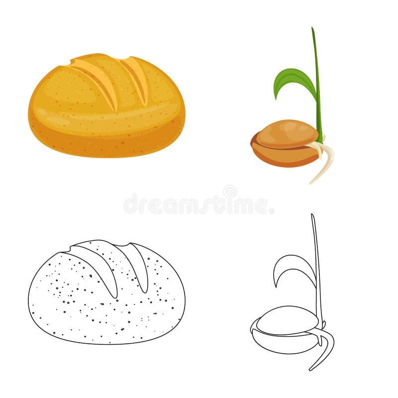 Ge?soleerd voorwerp van landbouw en de landbouwsymbool Inzameling van landbouw en het symbool van de installatievoorraad voor Web stock illustratie