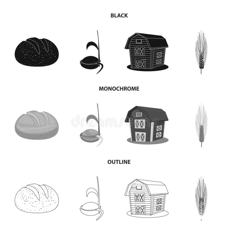 Ge?soleerd voorwerp van landbouw en de landbouwsymbool Inzameling van landbouw en de vectorillustratie van de installatievoorraad royalty-vrije illustratie