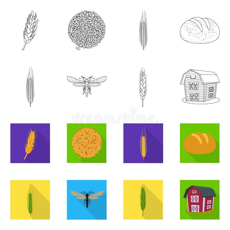 Ge?soleerd voorwerp van landbouw en de landbouwteken Inzameling van landbouw en de vectorillustratie van de installatievoorraad royalty-vrije illustratie