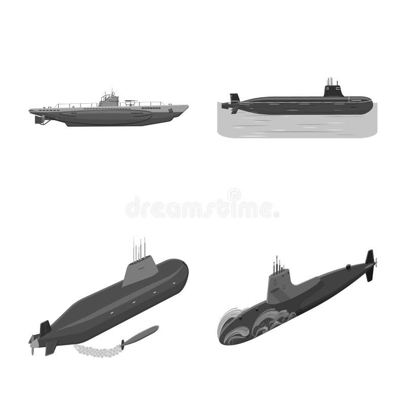 Ge?soleerd voorwerp van leger en diep symbool Inzameling van leger en kernvoorraadsymbool voor Web vector illustratie