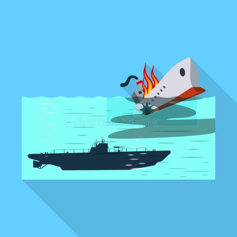 Ge?soleerd voorwerp van militair en kernsymbool Inzameling van de vectorillustratie van de militaire en schipvoorraad stock illustratie