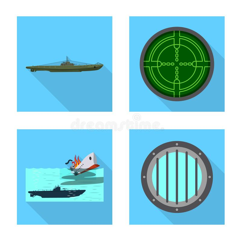 Ge?soleerd voorwerp van militair en kernsymbool Reeks van het symbool van de militaire en schipvoorraad voor Web royalty-vrije illustratie