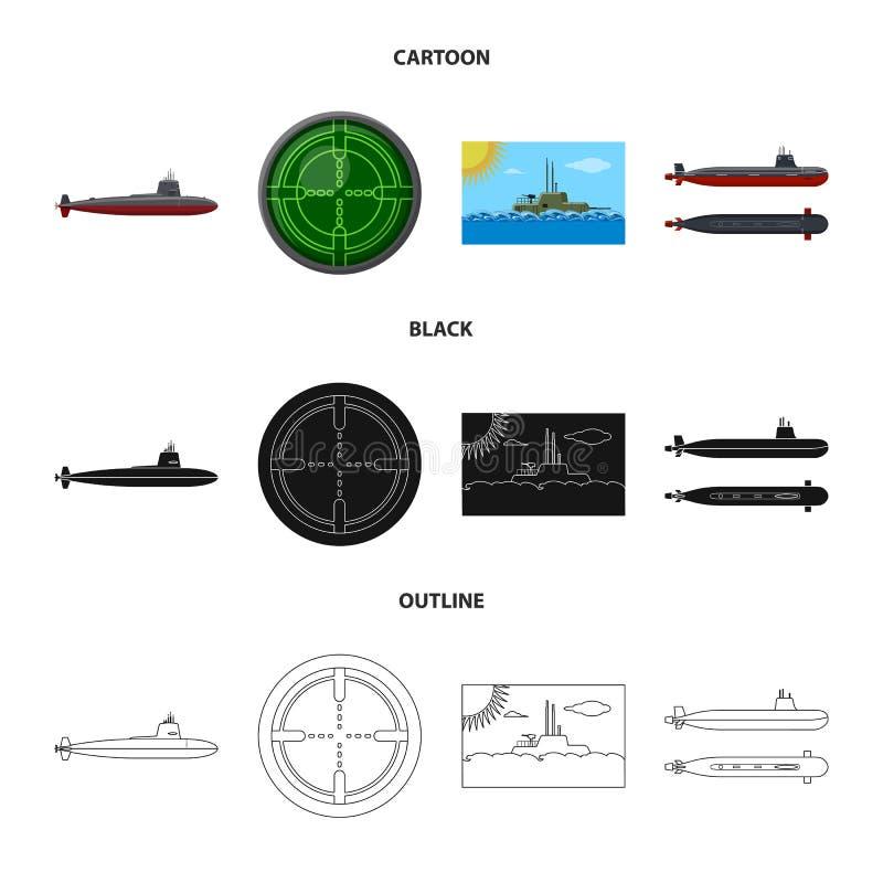 Ge?soleerd voorwerp van oorlog en schipembleem Inzameling van oorlog en de vectorillustratie van de vlootvoorraad vector illustratie
