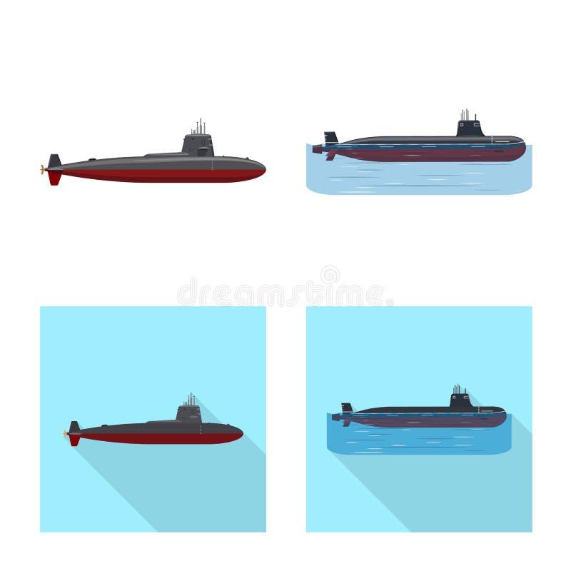 Ge?soleerd voorwerp van oorlog en schipembleem Reeks van oorlog en het symbool van de vlootvoorraad voor Web royalty-vrije illustratie