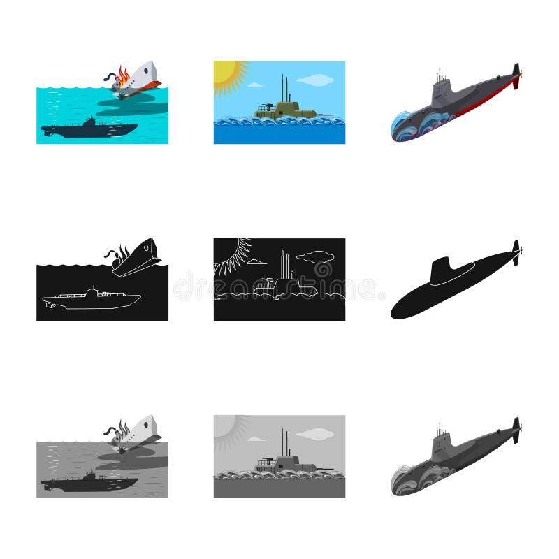 Ge?soleerd voorwerp van oorlog en schipembleem Reeks van oorlog en het symbool van de vlootvoorraad voor Web vector illustratie