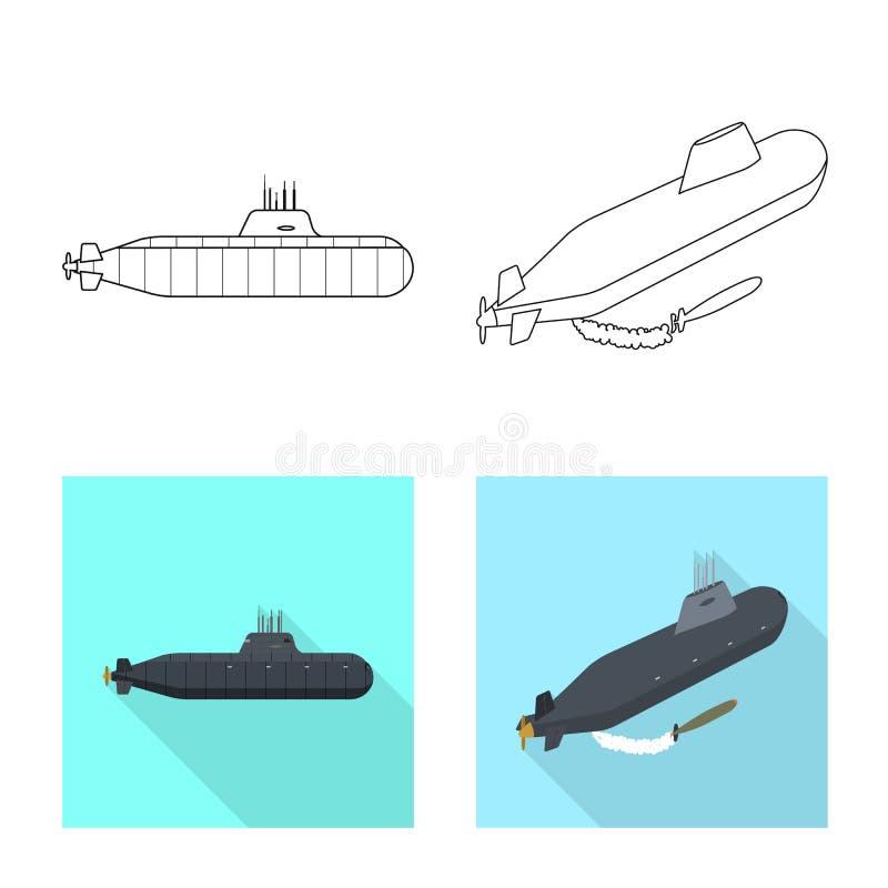 Ge?soleerd voorwerp van oorlog en schipembleem Reeks van oorlog en vloot vectorpictogram voor voorraad royalty-vrije illustratie
