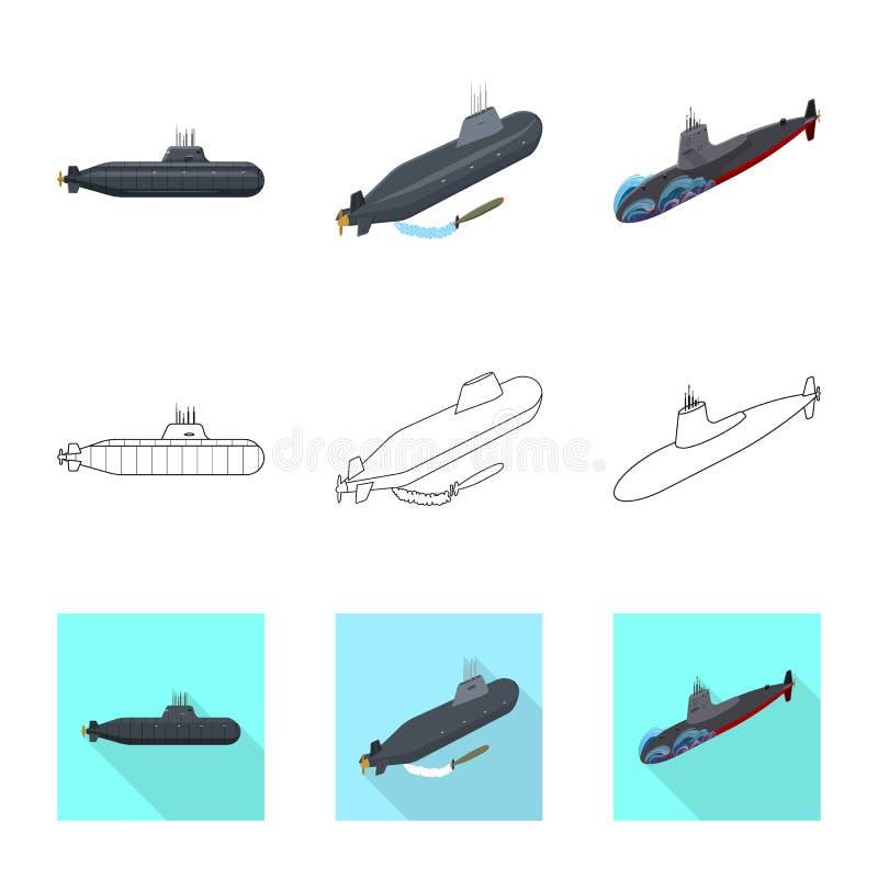Ge?soleerd voorwerp van oorlog en schippictogram Inzameling van oorlog en het symbool van de vlootvoorraad voor Web royalty-vrije illustratie