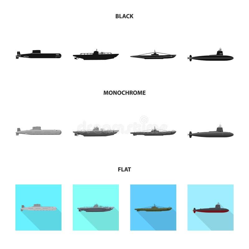 Ge?soleerd voorwerp van oorlog en schippictogram Reeks van oorlog en de vectorillustratie van de vlootvoorraad stock illustratie