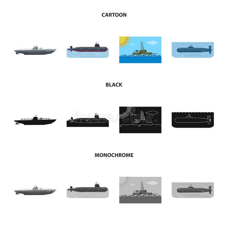 Ge?soleerd voorwerp van oorlog en schippictogram Reeks van oorlog en het symbool van de vlootvoorraad voor Web royalty-vrije illustratie