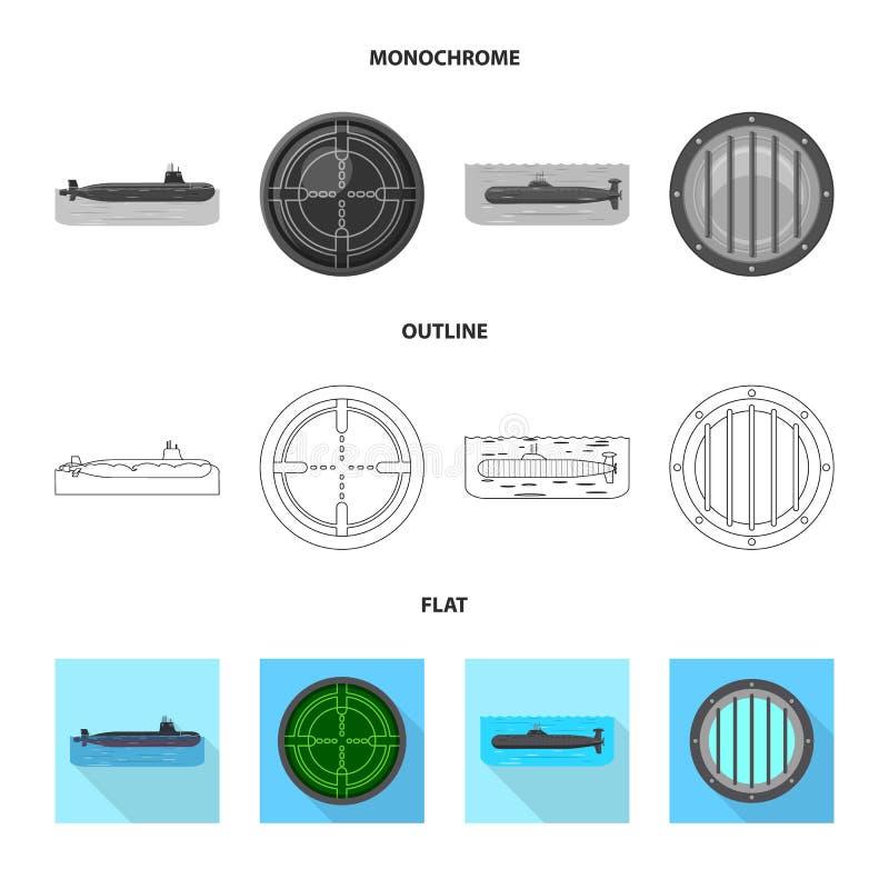 Ge?soleerd voorwerp van oorlog en schippictogram Reeks van oorlog en het symbool van de vlootvoorraad voor Web vector illustratie