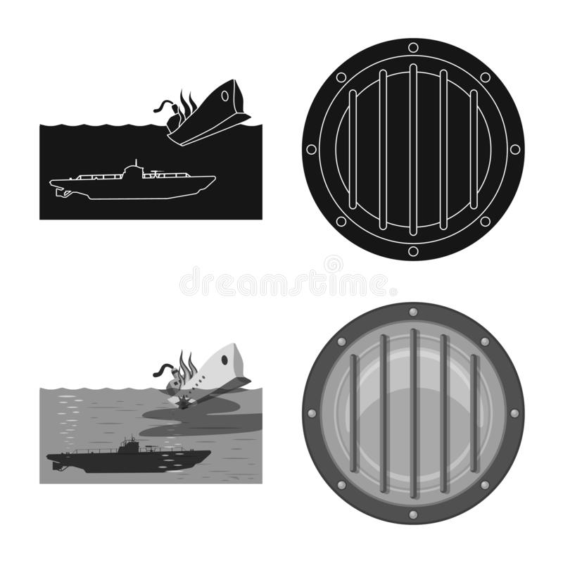 Ge?soleerd voorwerp van oorlog en schippictogram Reeks van oorlog en het symbool van de vlootvoorraad voor Web stock illustratie