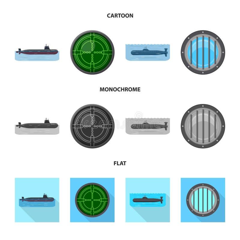 Ge?soleerd voorwerp van oorlog en schippictogram Reeks van oorlog en vloot vectorpictogram voor voorraad stock illustratie